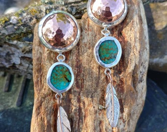 Hammered Copper and Turquoise Feather Earrings
