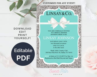 Tiffany and Co Invitation Template, Breakfast at Tiffanys Bridal Shower, Printable Tiffany Baby Shower Invites, Bride and Co, Tiffany Blue