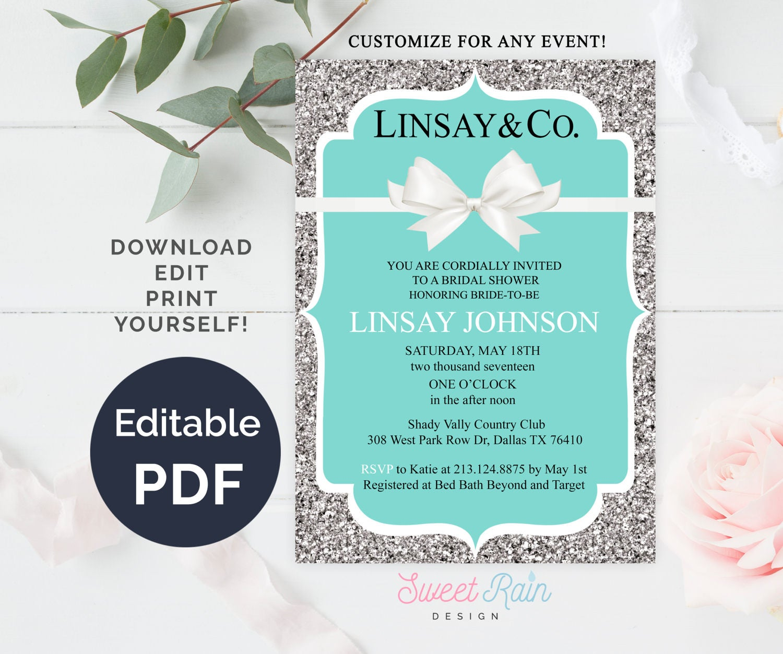 Personalized Tiffany Invitation Template Breakfast Tiffanys