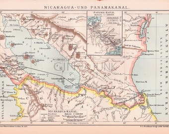 Vintage Map of Nicaragua - central america - south america and the famous panama canal