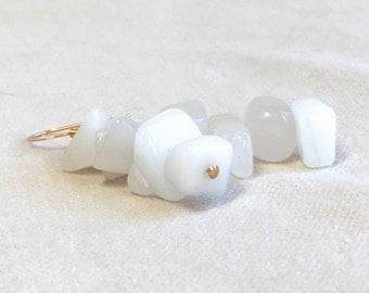 Small White Dangle Earrings, statement earrings gold earrings white quartz natural stone earrings Valentines gift for women gift for teen