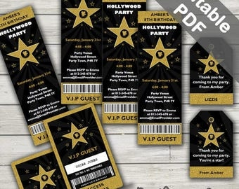 Hollywood Party Invitations. Free Hollywood Party VIP Passes and Hollywood Party Favor Tags. Editable PDF. Printable. Instant Download.