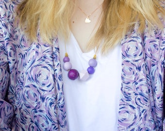 Passion Plum: Hand painted Wooden Bead Necklace (purple glitter, mauve, lilac, violet, geometric bead)
