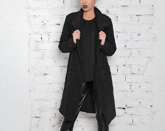 Black Coat / Military Coat / Wool Coat / Straight Coat / Long Black Coat / Black Cardigan / Wool Cardigan / Casual Coat / Designer Coat