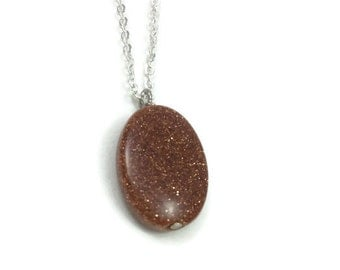 Goldstone Necklace- Oval Crystal Necklace Gold- Goldstone Jewelry- Goldstone Pendant- Sparkly Necklace- Silver Crystal Pendant