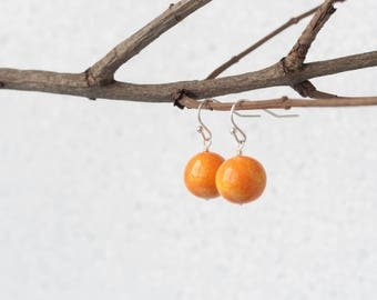 Orange earrings, Orange drop earrings, Orange dangle earrings, Earrings orange, Orange Ohrringe, Pendientes naranja, Orecchini arancioni