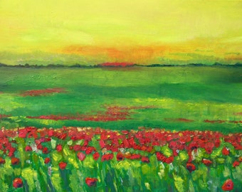 Oil on canvas Poppy Field