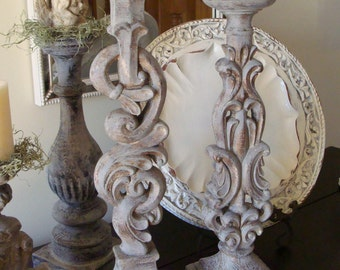 Large Set Gray Bronze Ornate Carved Pillar Candle Holders Wedding Gift Baroque Distressed Shabby French Country Farmhouse
