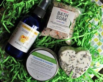Lavender Spa Gift, Spa Kit, Gift Set, Bath Salts, Salve, Bath Gift Set, Birthday Gift, Wedding Gift, Gift Basket, Vegan Gift, New Mom Gift