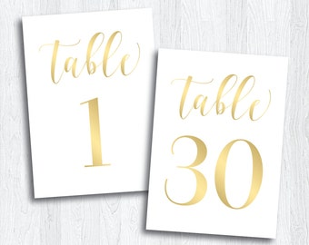 Gold Printable Table Numbers 1 - 30 | Instant Download | Wedding Printable | Gold Table Numbers | Events | Banquet | Reception (SHINE Set)