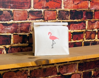 "SMALL Flamingo Canvas Reusable Lunch Bag, Eco Friendly Bag  10'' Tall,  7"" Wide, 4"" Deep"