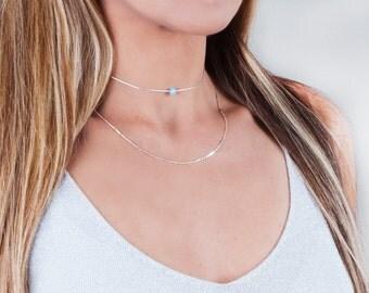 Opal Choker Necklace, Sterling Silver Choker, Opal Jewelry, Blue Opal Necklace, Tiny Opal Necklace, Minimalist Choker, Dainty Necklace Gold
