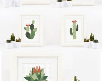 5 Cactus Succulent cross stitch pattern set Modern cross stitch Sale Multi Buy Deal instant PDF download geometric shape DIY gift Cactus