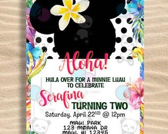 Tropical Minnie Mouse Invitation