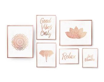SET of 6 Prints, Hindu Decor, Zen Prints, Bedroom Decor, Rose Gold Foil Print,Minimal Art, Feng Shui Wall Art, Zen Set Prints,Mandala, Lotus