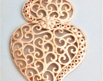 1x Filigree pendant gold portuguese 8.8 cm charm heart flower findings supplies, portuguese jewelry, viana's heart, pendant from Portugal
