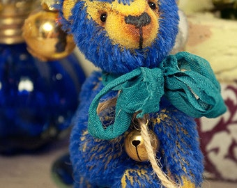 Artist teddy bear, ooak mini teddy bear, ooak bear, 4in, blue, yellow, antique, Maria Trotsenko, kawaii, cute, nice