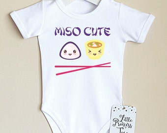Funny Miso Cute Baby Clothes. Japanese Sushi Smart Baby Shower Gift. Miso Soup Onesie