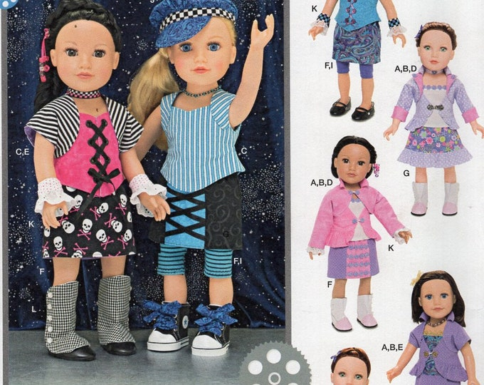 "Simplicity 1087 Free Us Ship 18""Doll Clothes Wardrobe New Sewing Pattern Fits American Girl  Biker Jean Dickhaut Out of Print"
