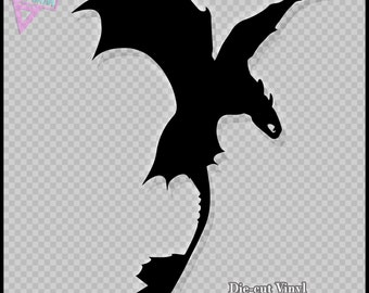 Toothless Dragon Silhouette - Vinyl Sticker