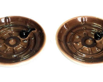 Set of 2 Enesco Ships Wheel Pipe Ashtrays Japan Rare Vintage E-3101