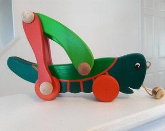wood grasshopper pull  toy