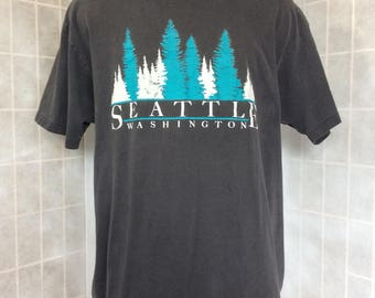 Vintage Seattle Washington Trees Gray T Shirt XL