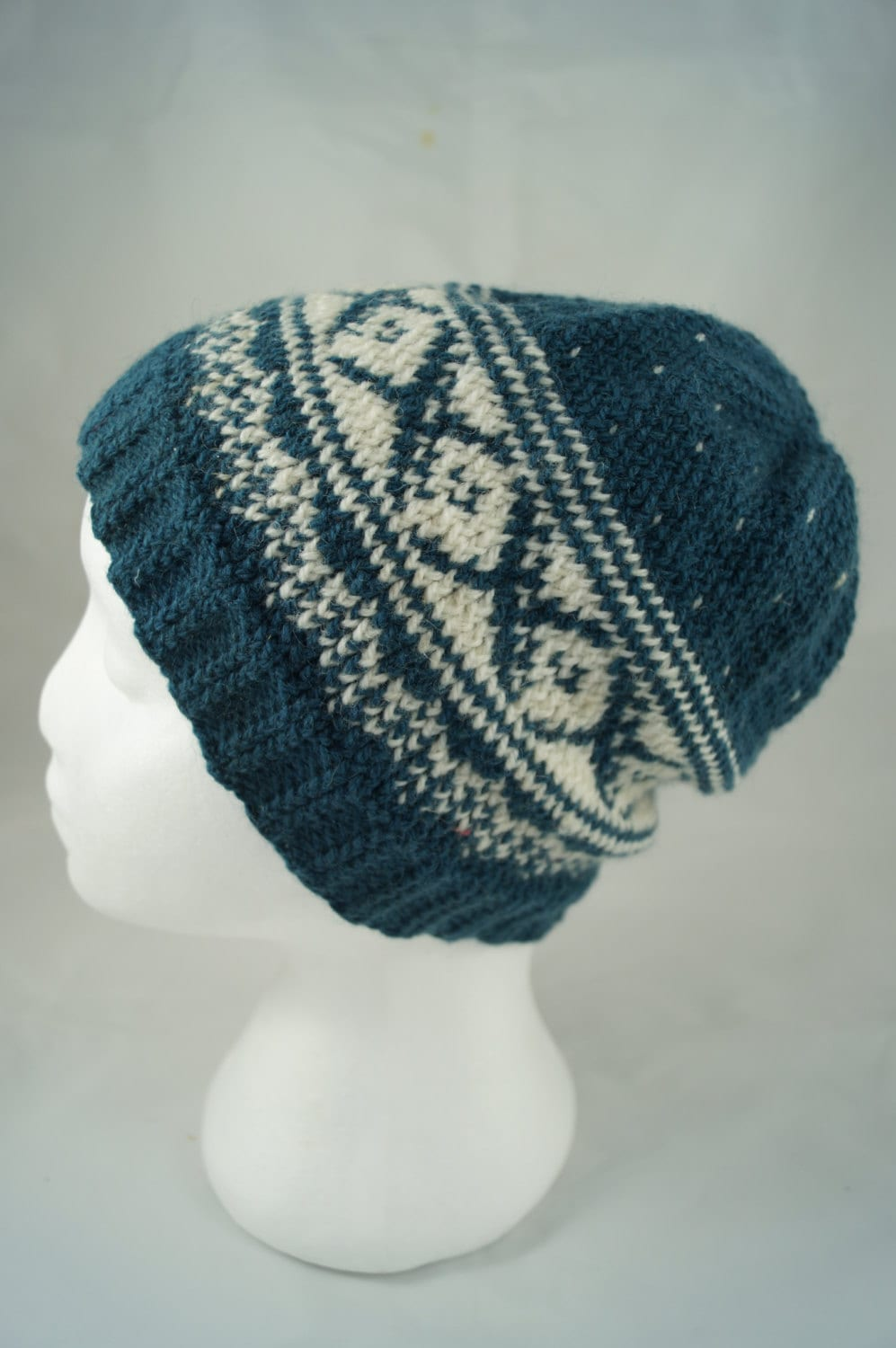 Knit fair isle hat pom pom hat Nordic knitted hat Hand Knit
