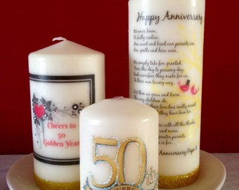 Personalized Candle, 50th Anniversary candle, Gift for Parents, Personalised Gift