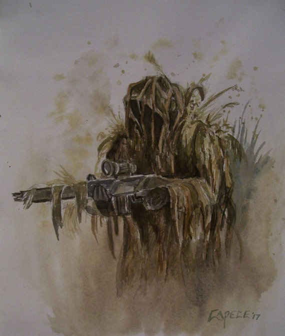 Marine Sniper, 16 x 20 Original Watercolor,ONE OF A KIND, Not a Print,Free Shipping Code SKYE2