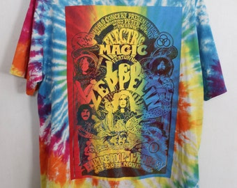 Led Zeppelin shirt 1990s vintage t shirt band t-shirts rainbow tie dye tee 90s hippie clothes Electric Magic ZoSo grunge rock tshirt