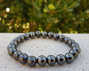 Round Hematite Bracelet, Stone of The Mind, Hematite Bracelet, Hematite, Healing Stone, Black Stone, Grey Stone