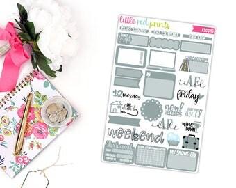 Gray Functional Sampler Number 2, Planner Stickers for the Erin Condren Life Planner, Sampler Sheet - [FS0045]