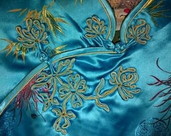 Vintage silk cheongsam blue wiggle fitted Chinese dress medium qipao
