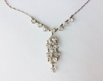 SALE Vintage Silver Crystal Drops Necklace