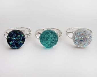 Mermaid Druzy Rings