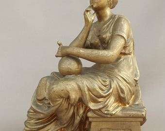 Antique French Gilt Sculpture Figurine - Woman Thinking Allegory of Knowledge - Spelter Cast Statue - Desk Accessory Philiospher
