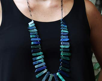 Azurite and Malachite Crystal Point Necklace