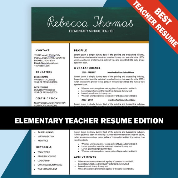 Elementary Teacher Resume CV Templates