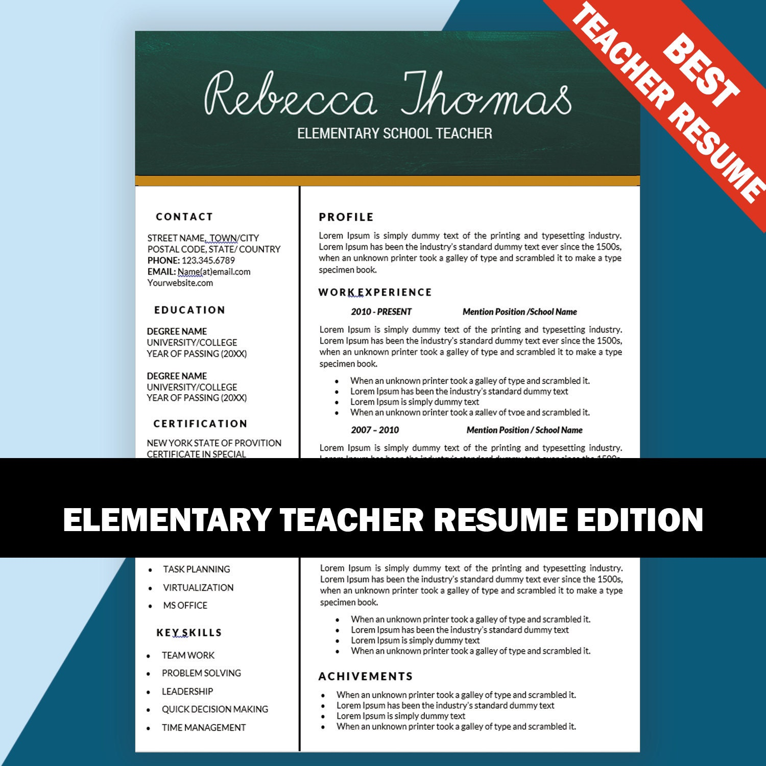 elementary teacher resume cv templates teaching resumes
