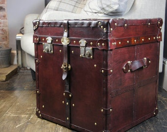 Finest Large English Handmade Leather Side Table Trunk