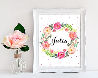 Baby name wall art Baby name signs for nursery Baby name art Nursery name sign Custom nursery decor Personalized nursery art Floral poster
