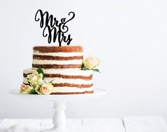 Mr and Mrs Cake Topper   Wedding Cake Topper   Bridal Shower Cake Topper   Romantic Cake Topper   Script Cake Topper