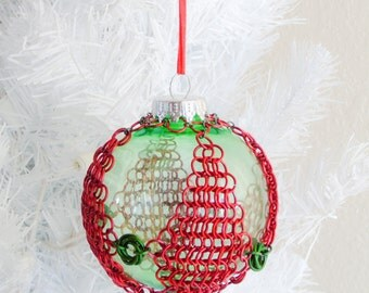 Dimond and Mobius Christmas Ornament, Holiday Ornament, Christmas Tree Ornament, Tree Ornament, Handmade ornament, chain mail ornament