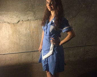 Waitress Uniform Twin Peaks Blue Retro Diner Pinup Double R DRESS Hostess Halloween Costume Custom Made
