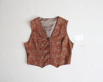 cropped vest | floral vest | copper vest