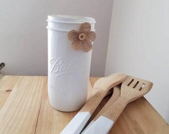 Utensils & Mason Jar Set. White Utensil Mason Jar, White Kitchen Jar, White Kitchen Decor, White Kitchen Utensils,(Many Colors Available)