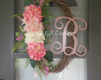 Made to Order Hydrangeas Grapevine Wreath/Monogram Wreath/Front Door Wreath/Spring/Year Round Wreath/Welcome Wreath/Seasonal/Everyday Decor