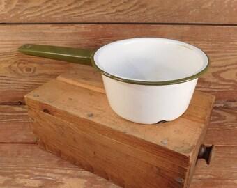 Vintage Green and White Enamel Sauce Pan, Farmhouse Chic, Farm Kitchen