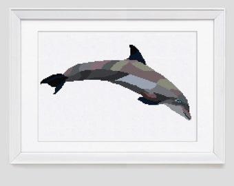 Cross stitch pattern, Dolphin counted cross stitch, dolphin cross stitch pattern, dolphin cross stitch pdf pattern